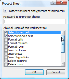 Protect a worksheet using VBA
