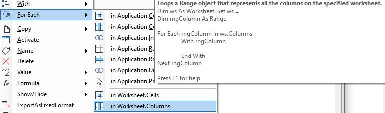 Excel Range Select Columns VBA
