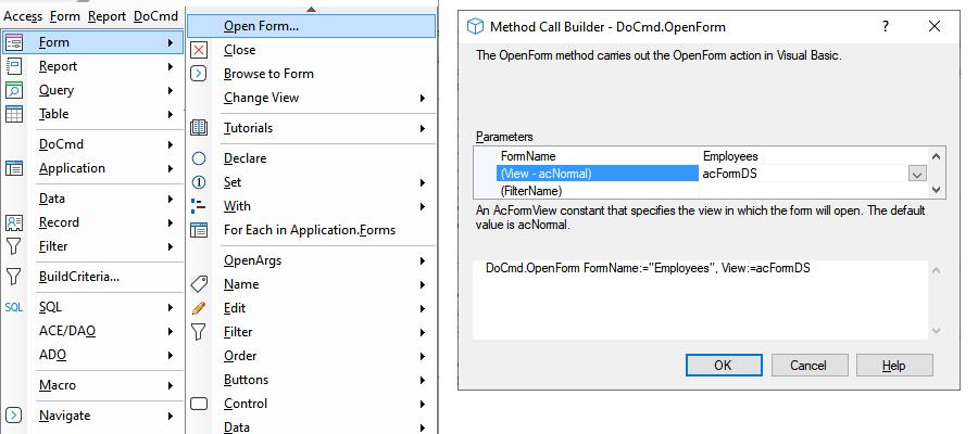 Access VBA add-on menu