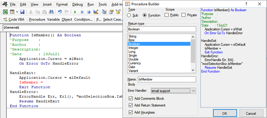 Insert function or sub with the procedure builder