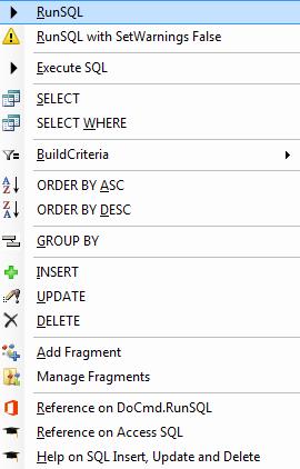Different uses for DoCmd RunSQL